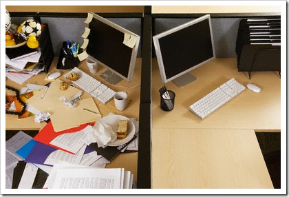 clean and messy desk