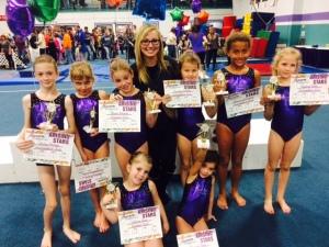Meghann with her gymnastics kiddos